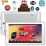 Tablette 3G 7 pouces GPS OTG Android 4.4 Double SIM 68Go Blanc
