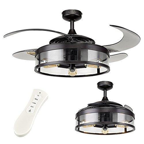 MiniSun 48 121cm Fanaway Industrial Black Smoke Retractable Blade Dimmable LED Ceiling Fan