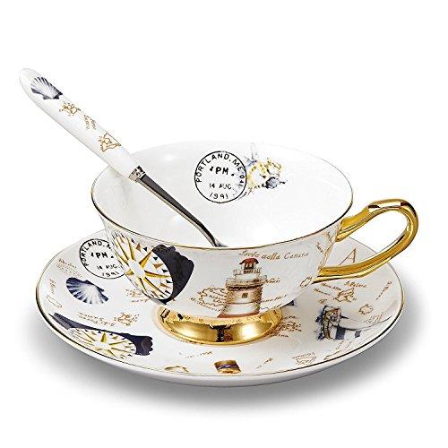 TOUCH vida Bone China Tazas/tazas de café y platillos Juegos con spoons-6.7oz, para casa, restaurantes, pantalla y vacaciones regalo, blanco y dorado, con caja de regalo, Set of 1 with gift box, 1 set