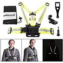 Fantaseal® chaleco alto reflectante para Gopro Hero 5 Arnés de correa de seguridad para Xiaomi Yi Yi 4K YI wi-fi / Yi 4K + Outdoor Correr Jogging Caminar Visible Adjustable Chesty Vest banda para hombres-Green