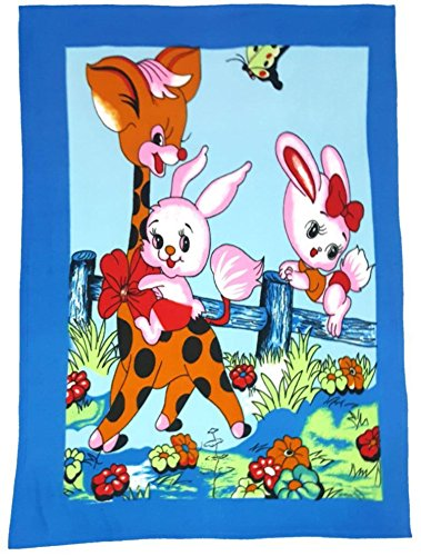 BRANDONN SOFT TOUCH BLUE JUNGLE FAMILY PRINTED POLAR FLEECE BABY BLANKET CUM BABY BEDSHEET(40 INCH X 60 INCH APPROX;BLUE)  available at amazon for Rs.224