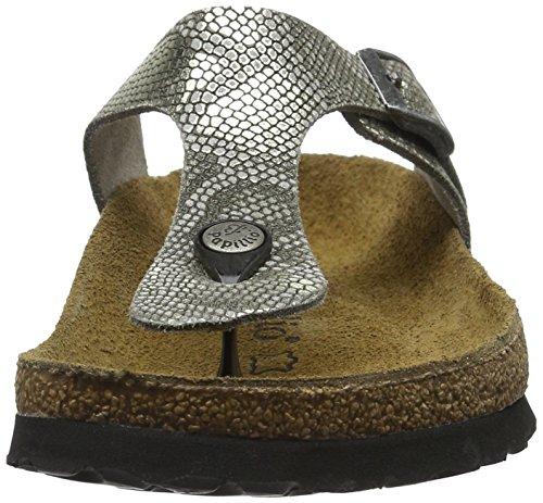 Birkenstock Damen Gizeh Leder Zehentrenner Grau (Royal Python Gray)