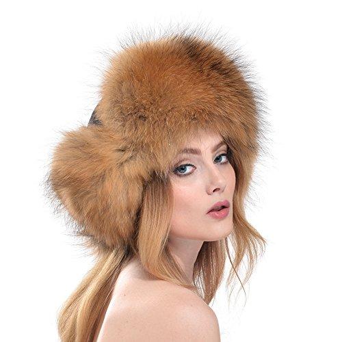 CharmantFur CharmantFur Braun Winter Warm Weich Modisch Fellmütze Pelzmütze Damenmütze Fliegermütze für Frauen aus Echt Fuchsfell und Baumwolle