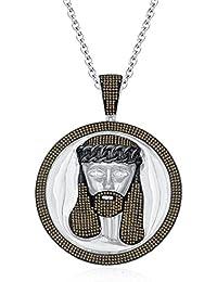 "Silvernshine Men's 1.40 Ct Round Citrine Jesus Face Pendant 18"" Chain In 14K White Gold Fn"