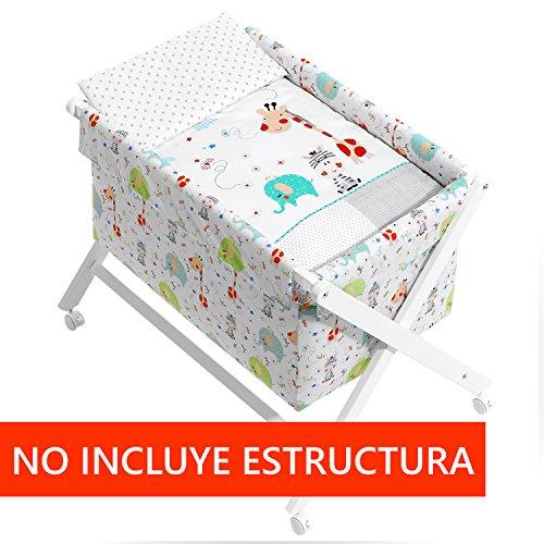 Vestidura Minicuna Tijeras mibebestore Blanco Jungla (No Incluye Estructura)
