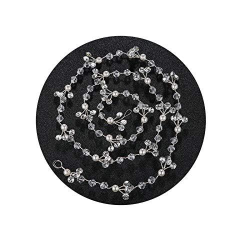 AmDxD Damen Haarband Braut Haar Zubehör Stirnbänder Brauthochzeits-Stirnband mit Weiß Zzirkonia - Kinder Schwarz Im Unsichtbaren Kostüm