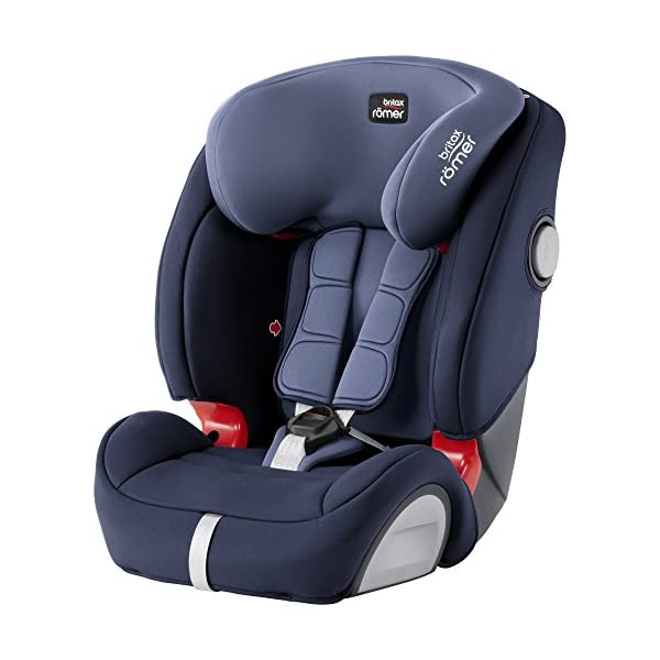 Britax Römer EVOLVA 1-2-3 SL SICT Group 1-2-3 (9-36kg) Car Seat - Moonlight Blue  CLICK & SAFE audible harness system for that extra reassurance when securing your child in the seat The padded headrest and harness can easily be adjusted with one hand to suit your child's height performance chest pads - provide comfort and reduce your child's forward movement in a frontal collision 1