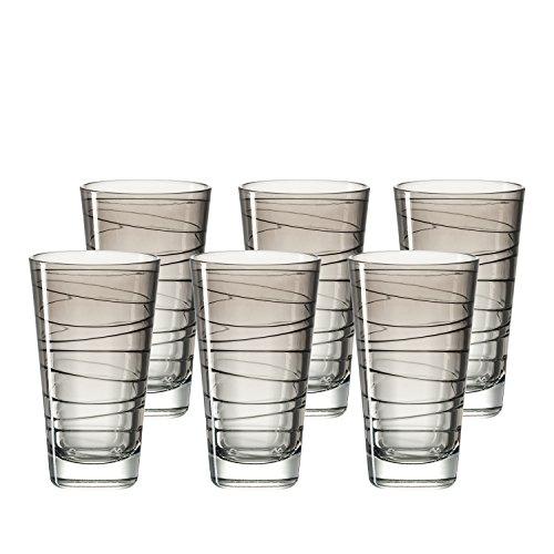 Leonardo Vario Struttura Becher groß Basalto, 6-er Set, 280 ml, hellgraues Klarglas mit Colori-Hydroglasur, 018236