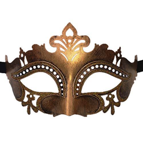 Kostüm Klassische Paare - Maskerade Maske für venezianische Frauen Kostüm Maske / Party / Ball Prom / Halloween / Karneval / Hochzeit (Gold Flower Diamond)