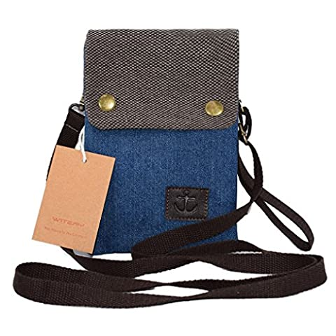 Women Cute Candy Blue Crossbody Bag / Cellphone Purse / Mini Shoulder Bag / Cellphone Pouch, WITERY Canvas 4 Bags Small Wallet with Adjustable Shoulder