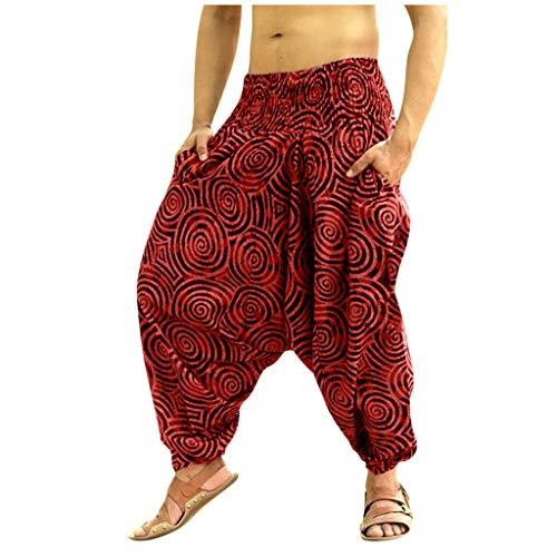 Xmiral Herren Casual Style Größ Größen Hose im Ethno-Stil Lose Gedruckte Elastische Taille Hosen Persönlichkeit Haremshosen(Rot,M)