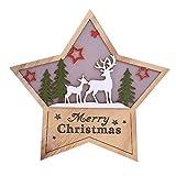 Qiusa Weihnachtsdekoration, LED-Licht niedlich Pentagram Ornamente Fenster Urlaub glühend Handwerk Geschenke Holz fünfzackigen Stern Ornamente