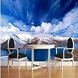 Tapete-Schnee-Gebirgsnatur-Landschaftsfotografie-Hintergrund-Wandgemälde-Wandtapeten des Foto-3D für Wohnzimmer XXL 300X758CM