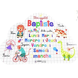 Autres Others Read and Tell Place Mat with First Name Cloud Design and Baptism (Front & Reverse) 29 x 41 cm