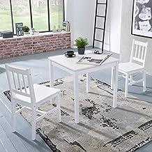 FineBuy Esszimmer Set Emilio 3 Teilig Kiefer Holz Weiß Landhaus Stil 70 X