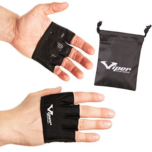 Fitness Handschuhe - Kurzfingerhandschuhe/fingerlose Handschuhe für Fitnessstudio, Gewichtheben, Krafttraining, Klimmzüge (Pull-Ups), Workout von ViperSportsWear. Schützen Sie Ihre Handflächen vor Verletzungen und Schwielen. Gesunde Hände = längere Workouts (Schwarz, XS)