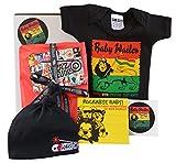 Rasta Baby-Geschenk-Box mit Baby-Wailer-Body, schwarzer Mütze, Bob-Marley-CD und Aufkleber