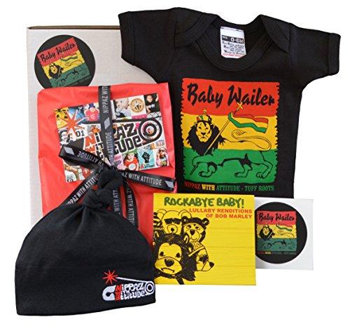 Reggae Rasta Baby Geschenk-Box - Baby Wailer, Bob Marley Wiegenlied CD, schwarze Beanie und Aufkleber