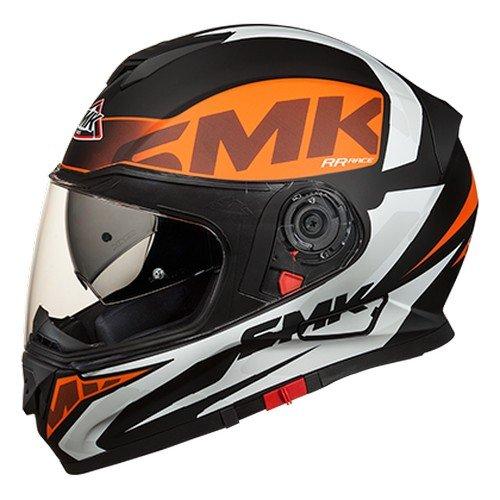SMK MA271 Twister Logo Graphics Pinlock Fitted Full Face Helmet With Mirror Visor (Matt Black, Orange and White, L)