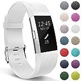 HUMENN Armband Für Fitbit Charge 2, Weiches Silikon Sports Ersetzerband Fitness Verstellbares Uhrenarmband für Fitbit Charge2 Klein Weiße