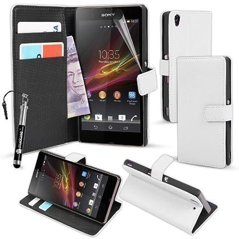 MadCase Étui en cuir PU avec socle stylet et film protecteur d'écran pour Sony Xperia Z1 Blanc