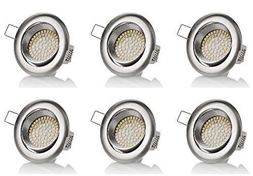 Sweet Led® Lot de 6 spots LED plats encastrables et pivotants 320 lm 3,5 W 230 V Aspect acier inoxydable Rond ou carré au choix, blanc froid, keine 3.5watts 230.00volts