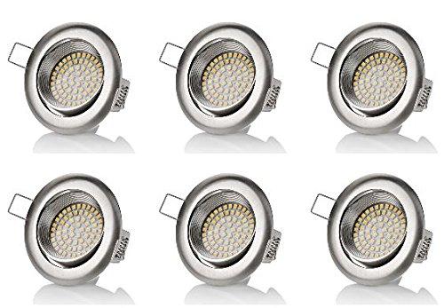 6 x stück sweet led® Flaches Design LED Einbaustrahler Flach | 320 Lumen | 3.5W | 230V | Edelstahl Optik | Rund - Eckig | Schwenkbar Einbauspots Einbauleuchten Einbau led (Neutralweiß)