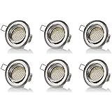 sweet-led 6 x flache Einbaustrahler LED, 230V, 3,5W, Schwenkbar, Rund, Chrom gebürstet, 320 lumen, Warmweiß