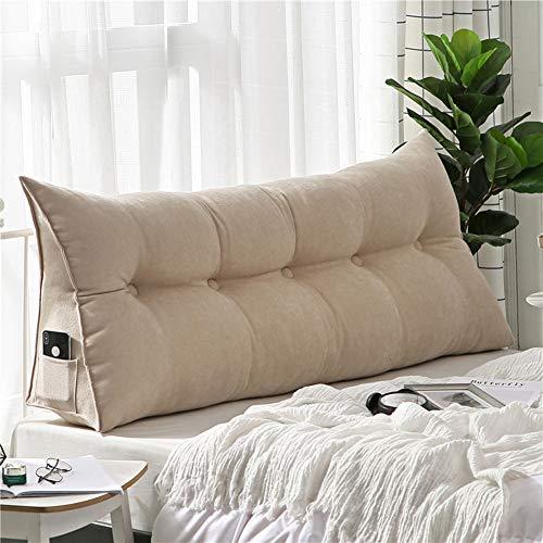 Lixiong cuscini testiera letto pad lombare cuscino custodia morbida cotone schienale triangolo del divano facile da smontare e pulire 4 colori, 7 taglie (colore : beige, dimensioni : 180cm)