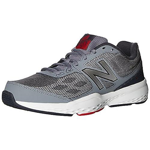517, Chaussures de Fitness Homme, Gris (Grey/Red), 41.5 EUNew Balance