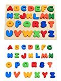 KanCai Niños madera ABC alfabeto mayúscula rompecabezas Jigsaw Puzzle - juguetes de aprendizaje temprano
