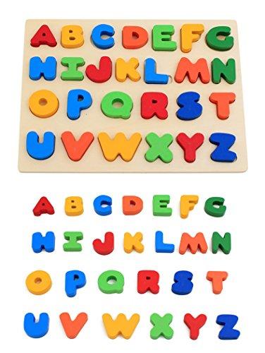 KanCai Wooden Puzzle Spielzeug, Frühe Bildung Kids Learning Board Zahlen Buchstaben Form Anerkennung Für 3 Jahre Alt Und Bis Oben Kinder Baby-Großbuchstaben