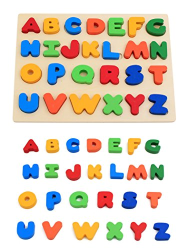 KanCai Niños madera ABC alfabeto mayúscula rompecabezas Jigsaw Puzzle - juguetes de...