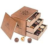 ChocoGrande - Ladies - 30 Luxus Pralinen | in einem Holzkästchen | Schokolade | Geschenkidee | Geschenke für Frauen | Mutter | Mama | Frauentag | Valentinstag