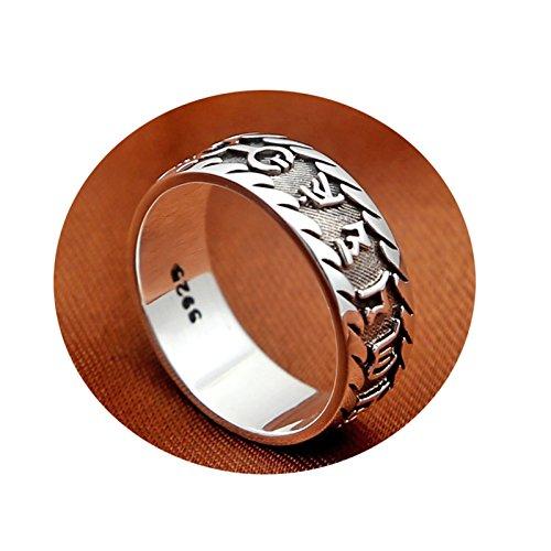 AmDxD S925 Silber Herren Ringe Sechs-Wort-Mantra-Memoiren Silberring Herrenringe Silber Gr.63 (20.1)