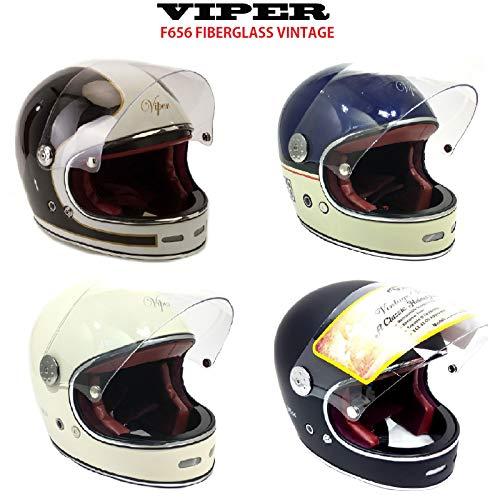 Neu Fiberglas-Helm Viper F656 Motorrad Integralhelme Vintage Vollgesichts-MotorradHelm Classic Custom Chopper, Bobber Retro Stil Helme (Matt Schwarz,S)