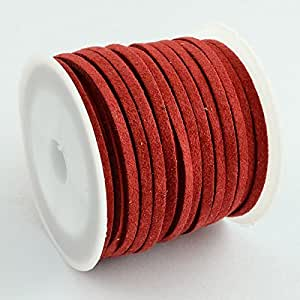 PEPPERLONELY Brand 5M/Roll 3mm Red Faux Suede Cord