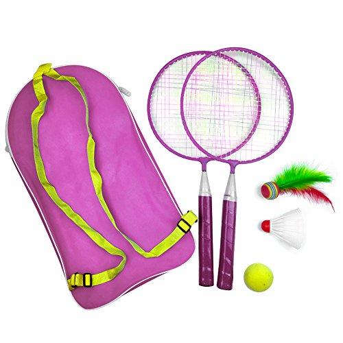 Badmintonschläger 1 Satz Outdoor-Spiele Mit Federball Kindersport Badminton Tennis Set Pädagogisches Kind Outdoor-Sport Mit Rucksack(Pink)