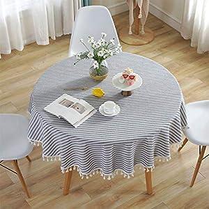 Meiosuns Runde Tischdecke Gestreifte Tischdecken Fringe Tischläufer Einfache und Elegante Heimtextilien für den Innen- und Außenbereich (Durchmesser 120 cm, Blaue/weiße Streifen)