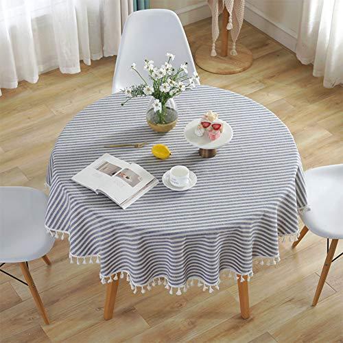 decke Gestreifte Tischdecken Fringe Tischläufer Einfache und Elegante Heimtextilien für den Innen- und Außenbereich (Durchmesser 150 cm, Blaue/weiße Streifen) ()