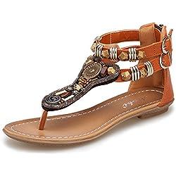 Minetom Mujer Verano Roman T-Correa Sandalias Diamante De Imitación Chanclas Sólido Cremallera Plana Con Tanga Zapatos Marrón EU 36