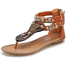 Minetom Mujer Verano Roman T-Correa Sandalias Diamante De Imitación Chanclas Sólido Cremallera Plana Con Tanga Zapatos