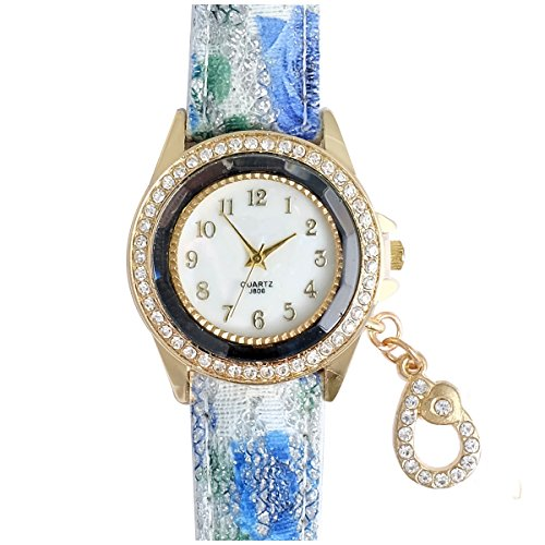 Super Drool ST2462_WT_DROP Crystal Drop Charm Analog Watch For Girls