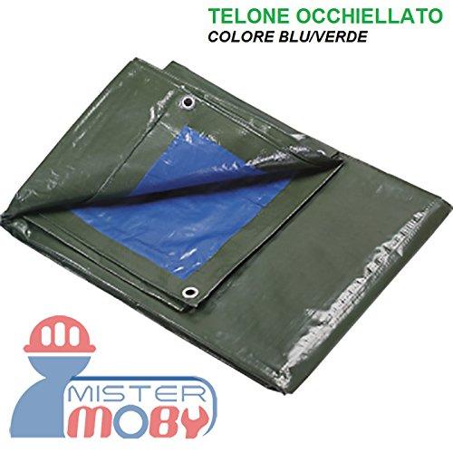 Mistermoby Telone Occhiellato Telo Angoli Rinforzati 200 Grammi/mq Teloni Bordati Verde/Blu 5X6 Metri