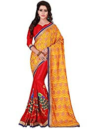 [Sponsored]Craftsvilla Womens Georgette Embriodery Half & Half Yellow Red Saree With Blouse Piece