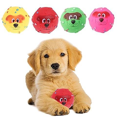 Hundespielzeug,Dairyshop 1Pc 7cm Haustier Hund Giggle-Ball Tough Treat Training Chew Ton-lustiges Spielzeug Squeaky
