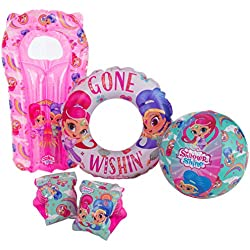 Shimmer and Shine Pink Kids Inflatable Arm bands / Swim Ring / Beach Ball / Lilo Air Mattress - Swimming Pool Beach Floats Set – Holiday Children Fun
