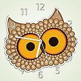 Wallario Glas-Uhr Echtglas Wanduhr Motivuhr • in Premium-Qualität • Größe: 30x30cm • Motiv: Lustige Comic Eule mit Großen Augen