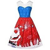 IZHH Damen Vintage Kleider Mode Frauen Geschenk Oansatz Weihnachtsmann Druck Weihnachten Große Größe Sleeveless Lace DressClub Festival Karneval Kleid Thanksgiving Geschenk(Blau,XXXX-Large)