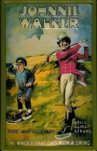 affiche-metallique-avec-johnnie-walker-whisky-ecossais-golf-chariot-golfplatz